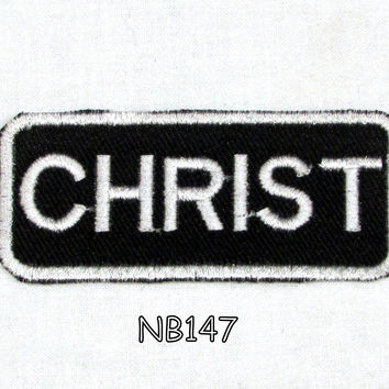 Christ Iron on Name Badge Patch for Motorcycle Biker Jacket and Vest NB147