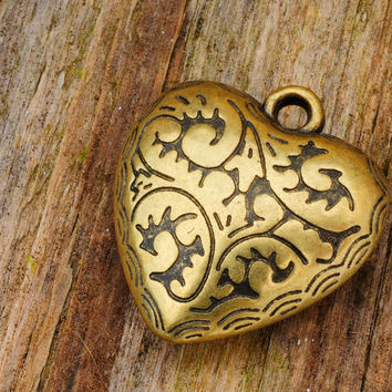 Antique Brass Ornate Heart Design Pendent Charm 45mm X 33mm Jewellery Findings Jewellery Making diyforstyle