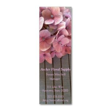 Hydrangeas on a 1915 book bookmark business card