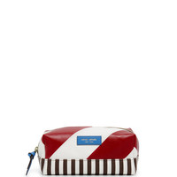 Striped Canvas Small Cosmetic Case