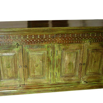 Antique Indian Sideboard Distressed Wood Green Carved Buffet Chest Console