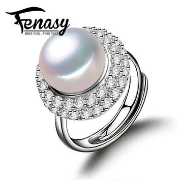 FENASY real freshwater pearl ring for women adjustable ring with AAAA zircon 10-11mm AAAA natural pearl jewelry