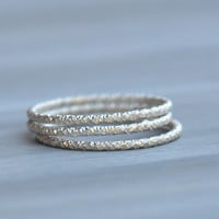 Stack Ring in Sterling Silver - Faceted Sterling Silver Stacking Rings Made in your size