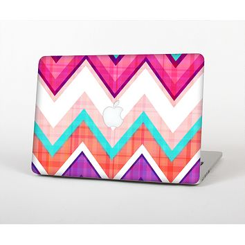 The Vibrant Teal & Colored Chevron Pattern V1 Skin for the Apple MacBook Pro 13""