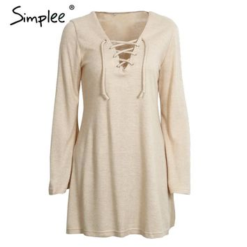 Simplee Lace up knitted sweater dress Women autumn casual flare sleeve soft loose short dress Winter 2016 deep v neck sexy dress