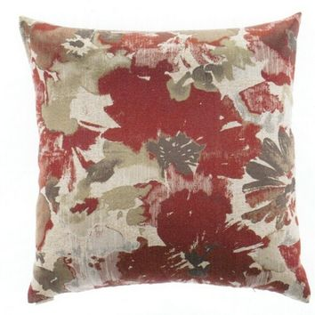 "24"" x 24"" spring meadow red background floral pattern print fabric throw pillow with a feather/down insert and zippered removable cover"