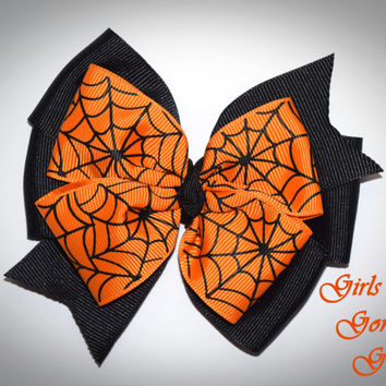 Halloween hair bow , black and orange bow , Halloween baby , toddler Halloween , girls Halloween bow , spiderweb bow , pinwheel hair bow