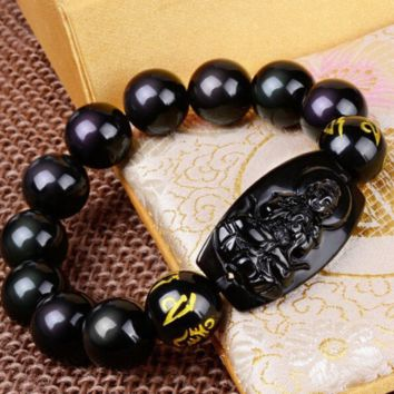 Black Obsidian Protection Bracelet with Lucky Buddha Amulet