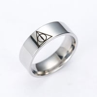 Fashion Europe and the United States classic film Harry Potter Rings Triangle rings titanium ring for men and women  rings gifts