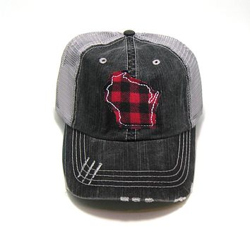 Wisconsin Trucker Hat - Gray Distressed - Red Buffalo Check