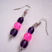 Purple and Pink Drop Earrings