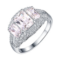 Womens Solitaire Wedding Ring Emerald Cut Cubic Zircon 925 Silver Engagement