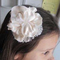Pretty burlap and satin hair flower fabric flower hair clip womans accessory childs hair clip rustic hair flower