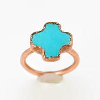 Turquoise Cross Copper Ring