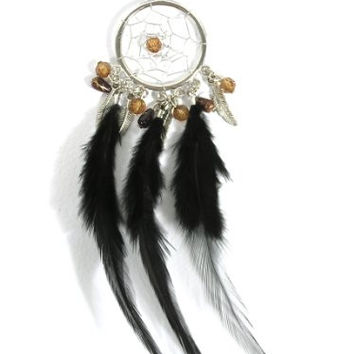 Dreamcatcher Feather Necklace Black Beaded Silver Tone NL09 Native American Style Boho
