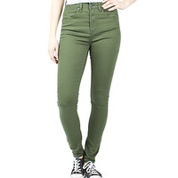 Girls high Waisted Jeggings - Olive Green.