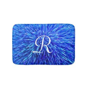 Blue Abstract Monogrammed Plush Bath Mat