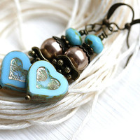 Turquoise Blue Heart Earrings, Romantic Jewelry, Beaded Glass Earrings, Valentine day, Turquoise Jewelry by MayaHoney