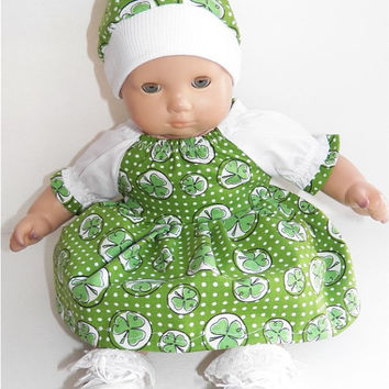 Bitty Baby Clothes Girl Irish Shamrock St. Patrick's Day Green White Peasant Dress and Hat (cap) 2 pc outfit