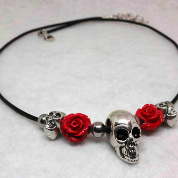 Skull Necklace, Red Roses and Skulls, Black Leather Necklace, Adjustable, Sterling Silver Chain, Sterling Lobster Clasp, Stainless Steel