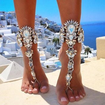 Bohemian Silver and Crystal Barefoot Sandle Anklet Chain