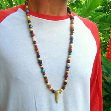 108 Beaded Gemstone Mala Necklace / Ethnic Tribal Necklace / Gemstone Beaded Long Necklace / Mala Bead Necklace / Hippie Surfer Necklace
