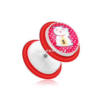 A Pair of Maneki-Neko Lucky Cat Acrylic Fake Gauge Plug Earring