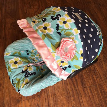Midnight Garden Infant Car Seat Cover Baby Pink Navy