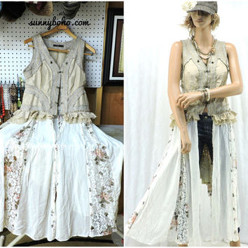 Upcycled boho long vest S / M long lace gypsy duster / corset top / vest lagenlook shabby chic romantic long lace vest SunnyBohoVintage