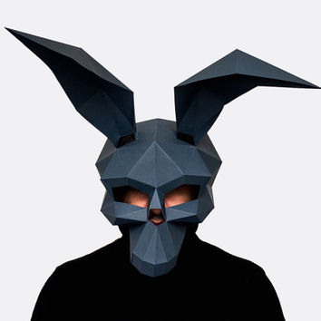 Make your own Donnie Darko Mask, Instant Pdf download, Halloween Paper Mask, Printable Mask,  DIY Polygon Masks