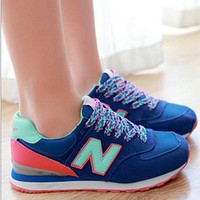 """""""New Balance"""" Fashion Casual All-match N Words Breathable Couple Sneakers Shoes Blue"""
