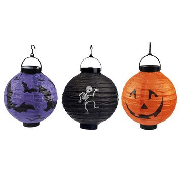 3pcs Halloween Paper Lantern Foldable Delicate Pumpkin Bat Skeleton LED Lantern Light Party Decorations for Holiday Party Decor
