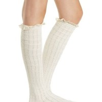Lace Trim Over-the-Knee Socks by Charlotte Russe