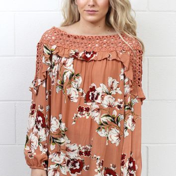 Ruffled in Florals Crochet Neckline Blouse {Rosy Brown}
