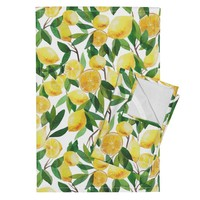 Orpington Tea Towels featuring lemon by holaholga