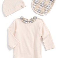Infant Girl's Burberry Bodysuit, Bib & Hat
