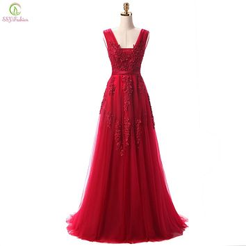 Lace Beading Sexy Backless Long Evening Dresses Bride Banquet Elegant Floor-length Party Prom Dress