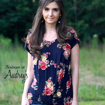Navy Floral Print Short Sleeve Top with Twist Front Detail