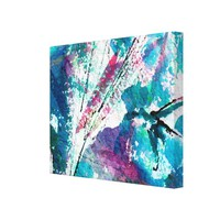 Organic Abstract in Blue Ink and Watercolor Canvas Print