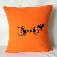 Halloween Pillow Cover - Orange Pillow, Fall Pillows, Ghost Pillow, Halloween Decor, Spooky Pillow, 16 x 16, 18 x 18, 20 x 20