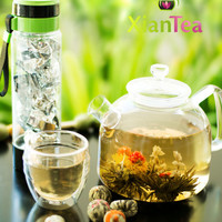 12pcs Blooming Flower Tea + Travel Bottle + Travel Cup | Gift Set | Vanilla Flavor | Handcrafted Flowering Blooming Tea