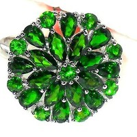 Russian Chrome Diopside white topaz ring 6.00 ctw  size 7 Sterling