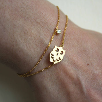 Dainty Owl Bracelet with Gold Owl and Tiny Cubic Zirconia
