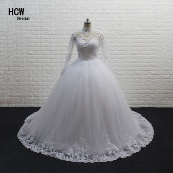Long Sleeve Muslim Wedding Dress 2018 High Quality White Lace Tulle Princess Ball Gown Wedding Dresses Vestido De Casamento