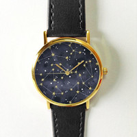 Constellation Watch, Sky Full of Stars, Vintage Style Leather Watch,Women Watches,Unisex Watch,Boyfriend Watch,Men's Watch,Yellow Black Gray