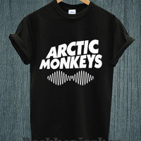 Hot -ARCTIC MONKEYS UK Band Tour 2014 Logo Tee Shirt Black and White Unisex Size - Part 1