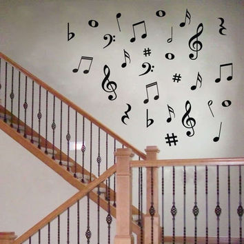 hot selling 28 Vinyl MUSIC Musical NOTES Variety Pack Wall Decor Decal Sticker On Wall Decal Sticker Home Decor Art Mural y2002