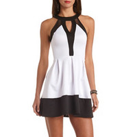 MESH CUT-OUT COLOR BLOCK SKATER DRESS