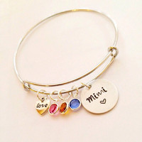 Adjustable Bangle Bracelet, Mimi Bracelet, Grandma Bracelet Family   Bracelet, Personalized Bracelet, Mommy Bracelet