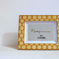 READY TO SHIP 5x7 4x6 Mat Frame Yellow Mustard Polka Dots
